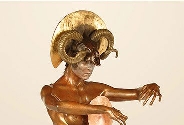 Bronze Gold Leaf Imaginary Realism Sculpture