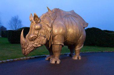Albrecht Durer Rhinoceros life size Bronze Patinated Sculpture
